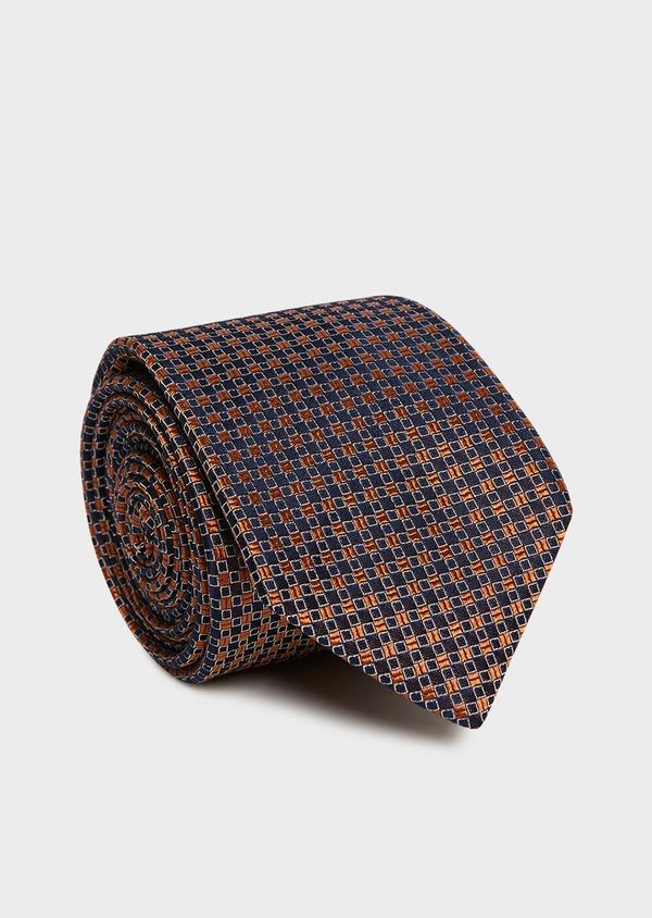 Cravate fine en soie marron à motifs géométriques marron clair - Father and Sons 32959