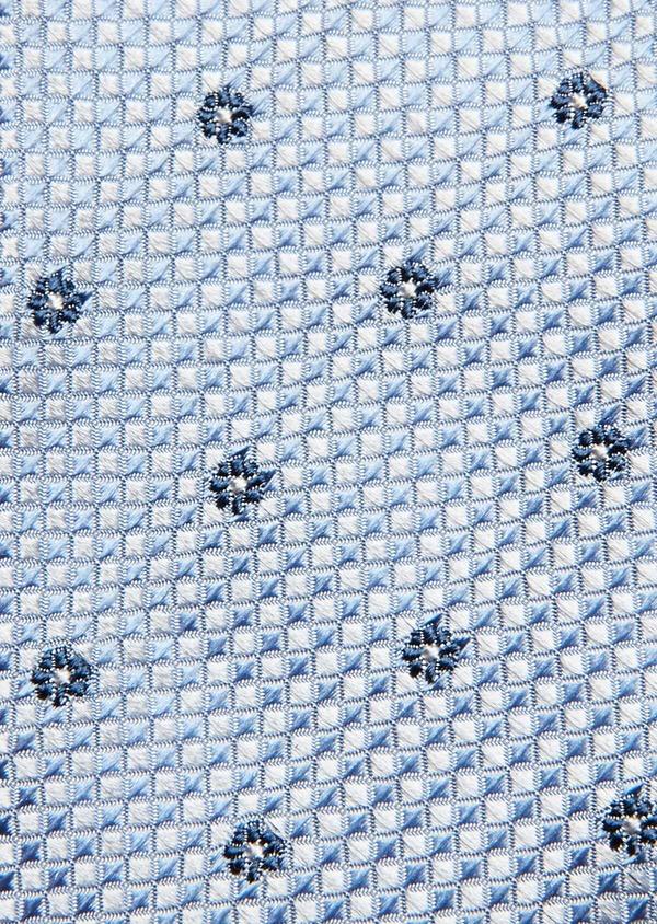 Cravate fine en soie bleu ciel à motif fleuri bleu marine - Father and Sons 32846