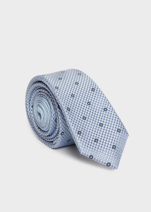 Cravate fine en soie bleu ciel à motif fleuri bleu marine - Father and Sons 32845