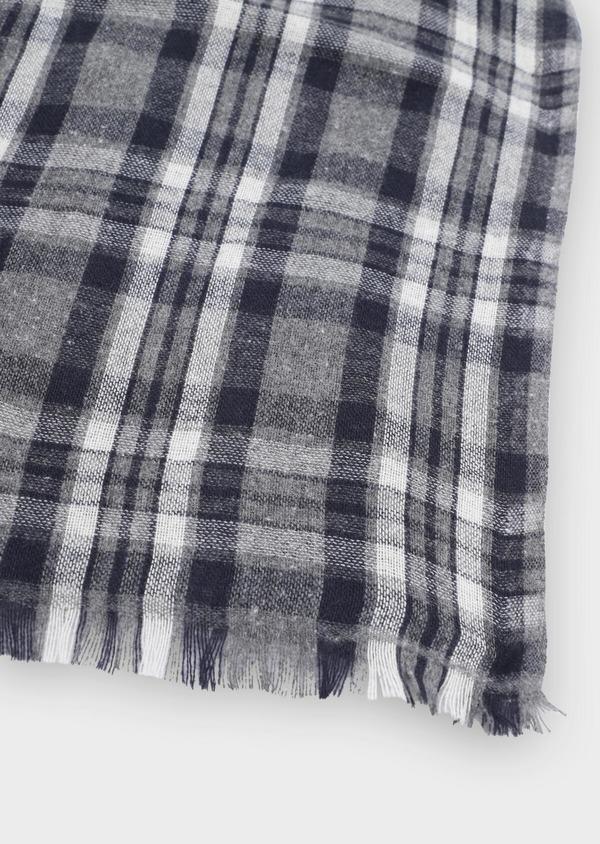 Écharpe en coton mélangé à carreaux gris - Father and Sons 35255