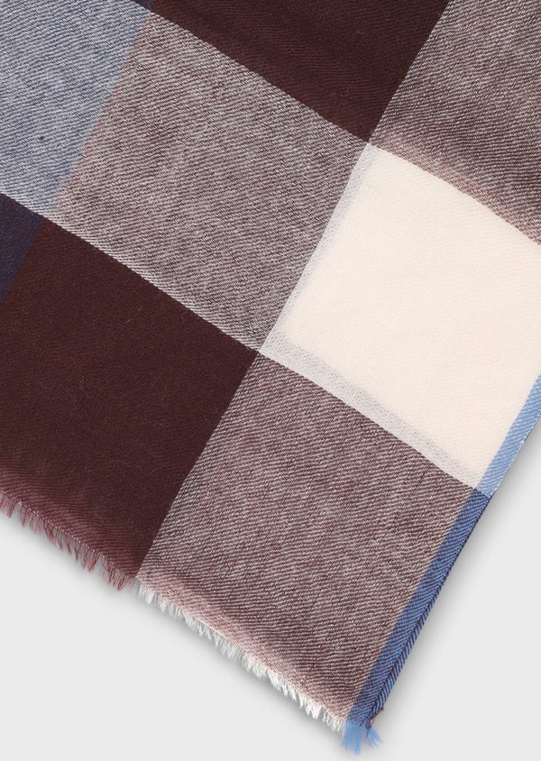Écharpe en laine à carreaux beige, marron et bleu - Father and Sons 35243