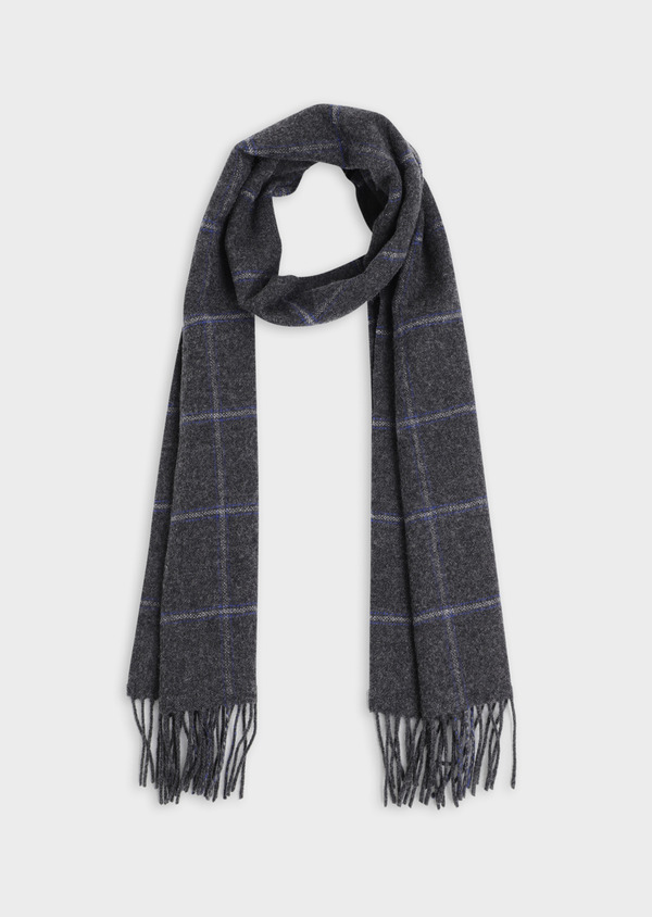 Écharpe en laine grise à grands carreaux bleus - Father and Sons 35258