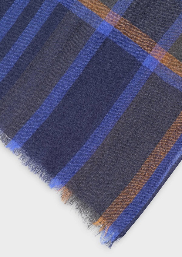 Écharpe en laine bleue à carreaux marron et gris - Father and Sons 35257