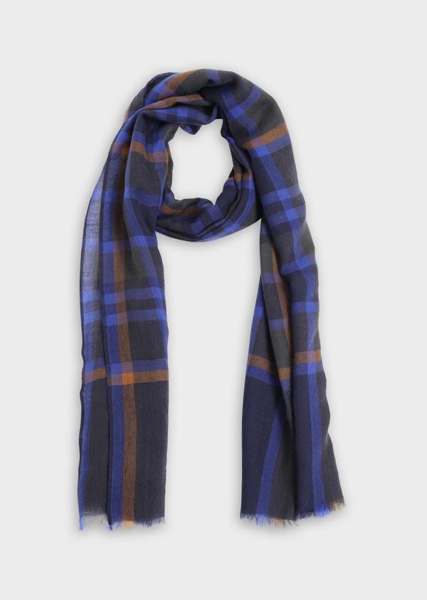 Écharpe en laine bleue à carreaux marron et gris - Father and Sons 35256