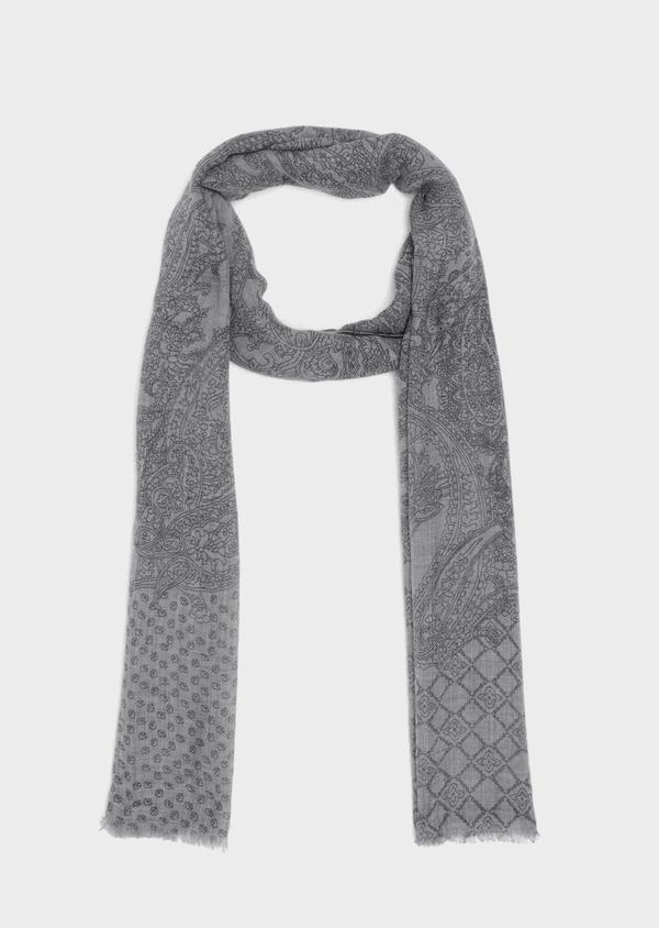 Écharpe en laine grise à motif fantaisie - Father and Sons 35235