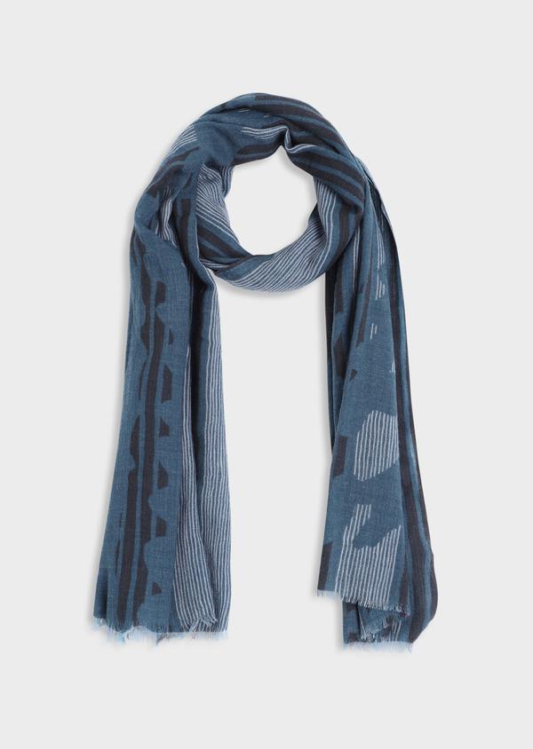 Écharpe en laine gris clair à motif fantaisie bleu et noir - Father and Sons 35246