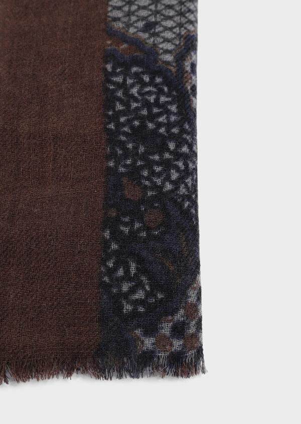 Écharpe en laine bleue à motif fantaisie cognac, bordeaux et gris - Father and Sons 35249