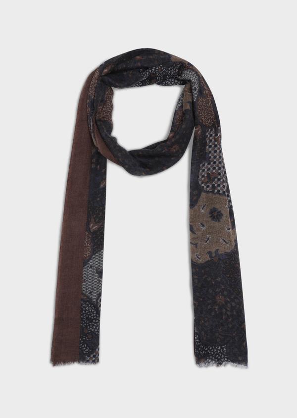 Écharpe en laine bleue à motif fantaisie cognac, bordeaux et gris - Father and Sons 35248