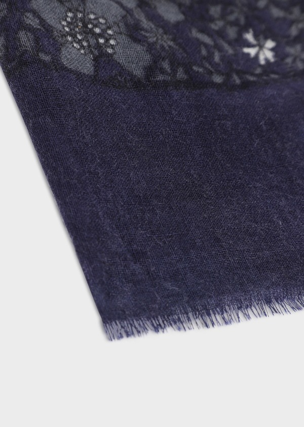 Écharpe en laine bleue à motif fleuri - Father and Sons 35669