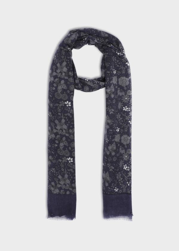 Écharpe en laine bleue à motif fleuri - Father and Sons 35668