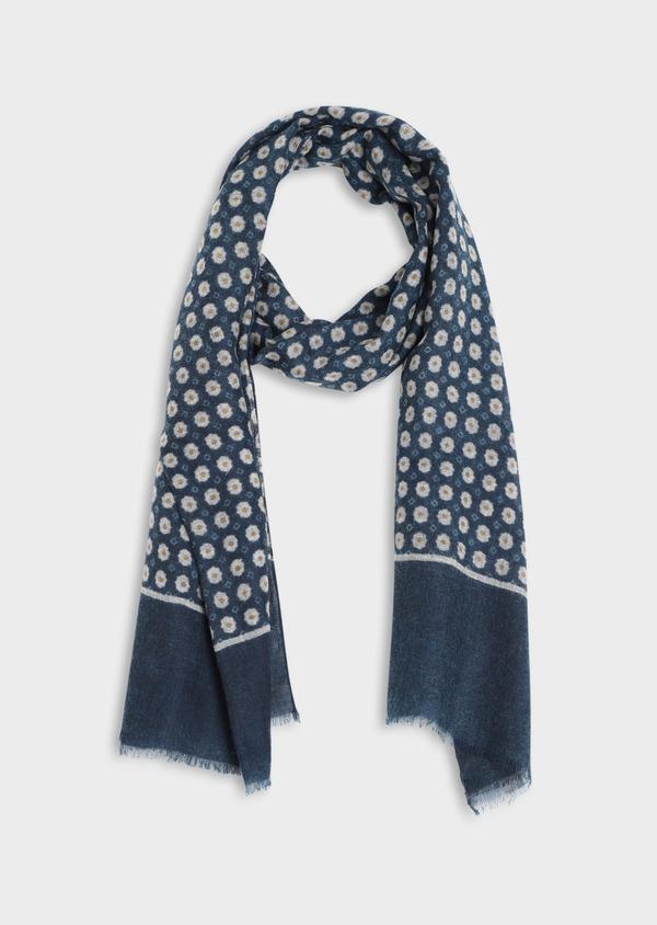 Écharpe en laine bleue à motif fleuri et géométrique jaune et gris - Father and Sons 35244