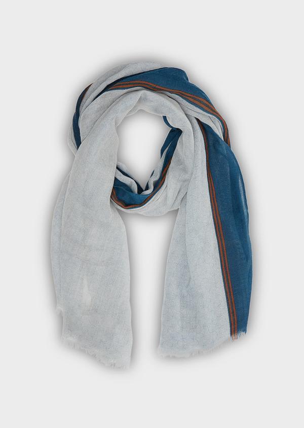 Écharpe en laine bleu ciel à rayures bleu marine et orange - Father and Sons 26758
