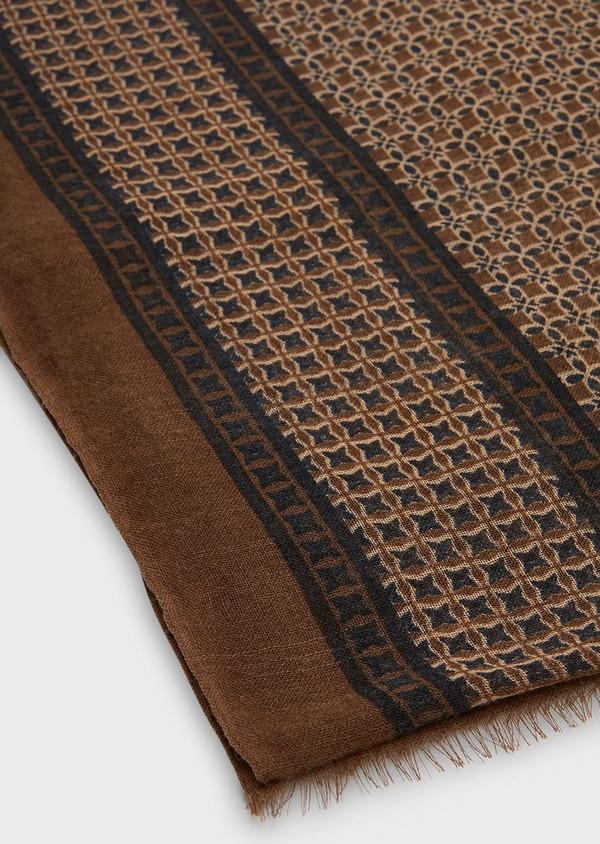 Écharpe en laine camel à motif fleuri - Father and Sons 26763