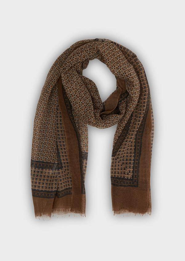 Écharpe en laine camel à motif fleuri - Father and Sons 26762
