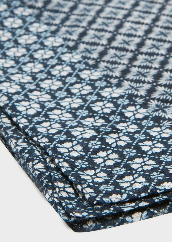 Écharpe en coton bleu à motif fantaisie bleu ciel et blanc - Father and Sons 33035
