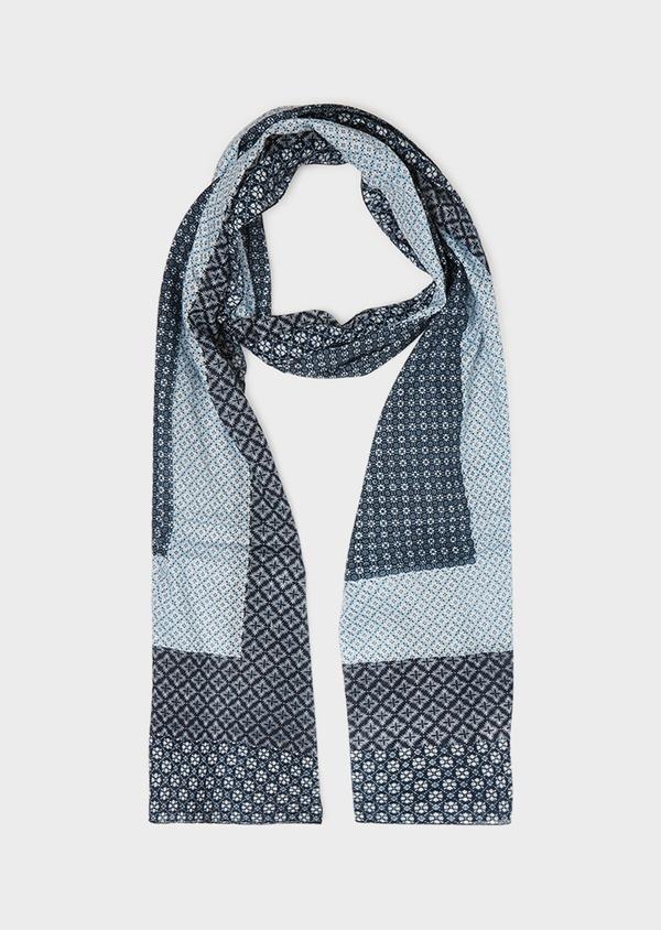 Écharpe en coton bleu à motif fantaisie bleu ciel et blanc - Father and Sons 33034
