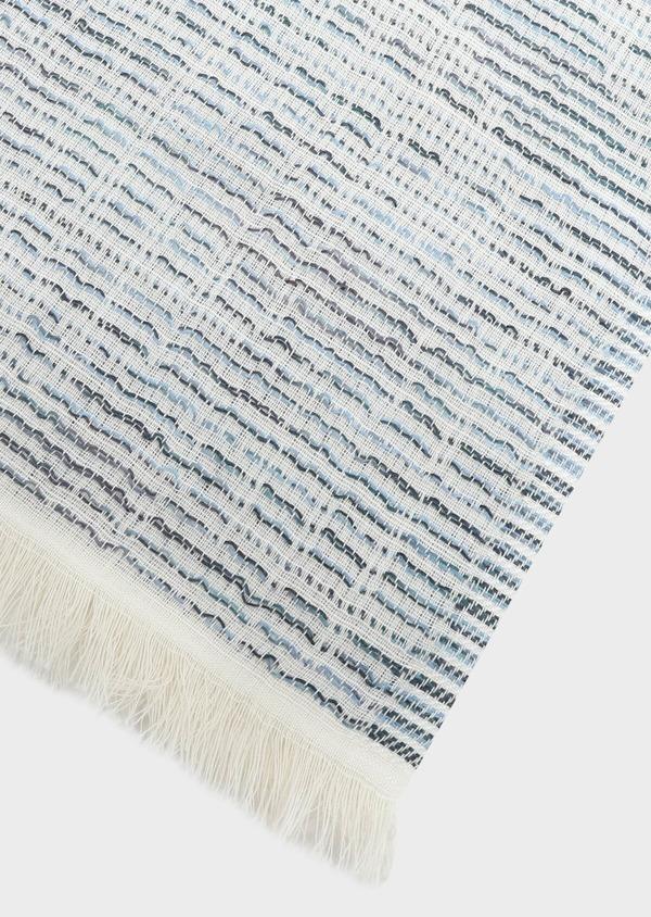 Écharpe en coton mélangé bleu à motif fantaisie blanc - Father and Sons 33039