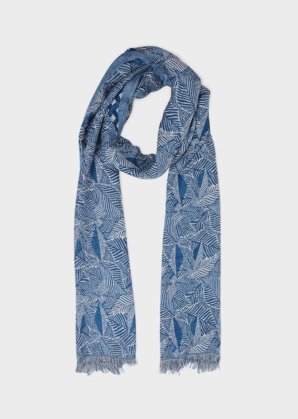 Écharpe en coton mélangé en motif fantaisie bleu et blanc - Father and Sons 33024