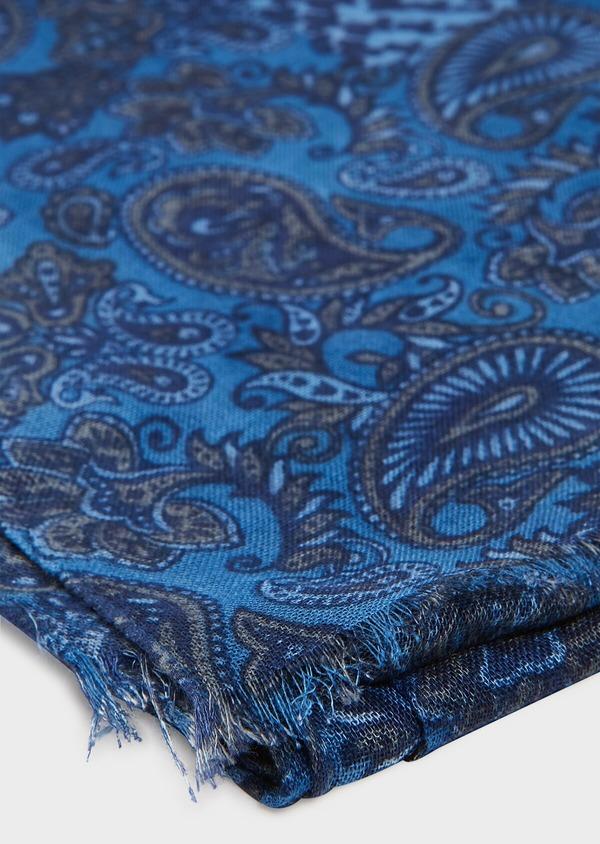 Écharpe bleue à motif fantaisie vert kaki clair - Father and Sons 33027