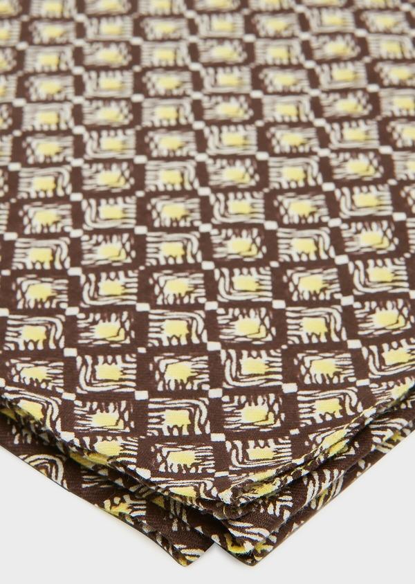 Écharpe en coton marron clair à motif fantaisie jaune - Father and Sons 33043