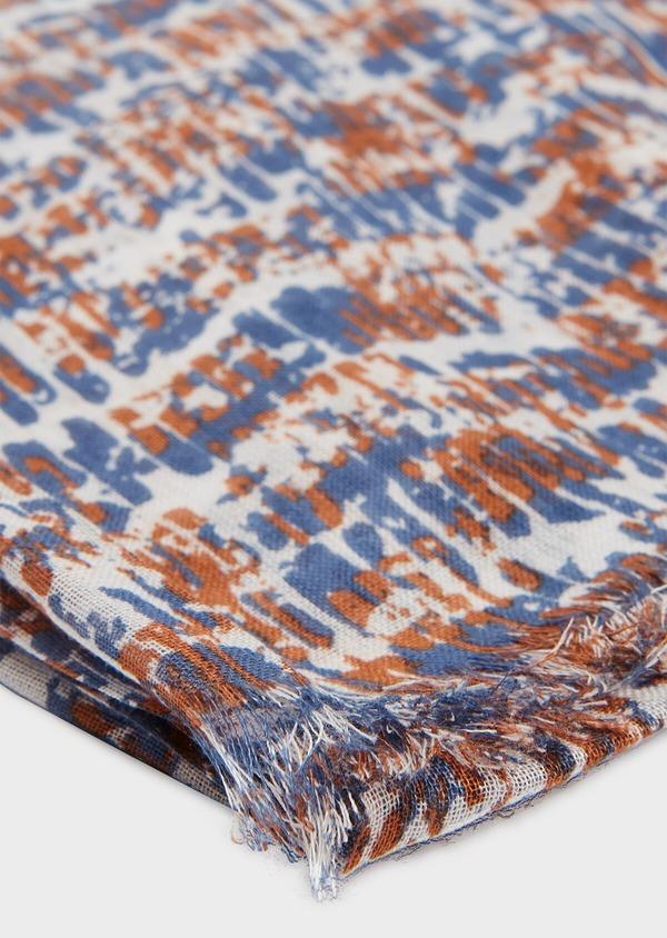 Écharpe en coton et modal à motif fantaisie bleu et marron clair - Father and Sons 33023