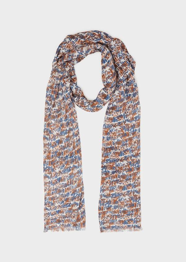 Écharpe en coton et modal à motif fantaisie bleu et marron clair - Father and Sons 33022