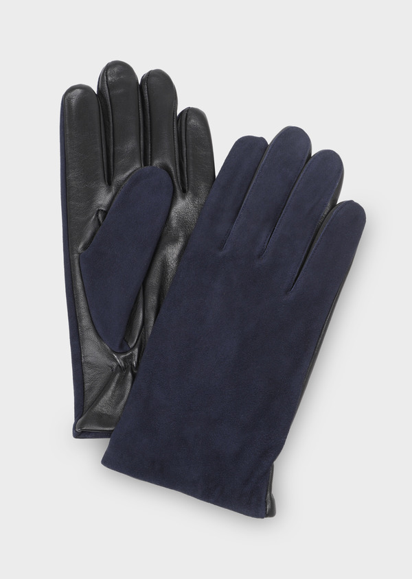 Gants bi-matière cuir et coton bleu marine - Father and Sons 28352