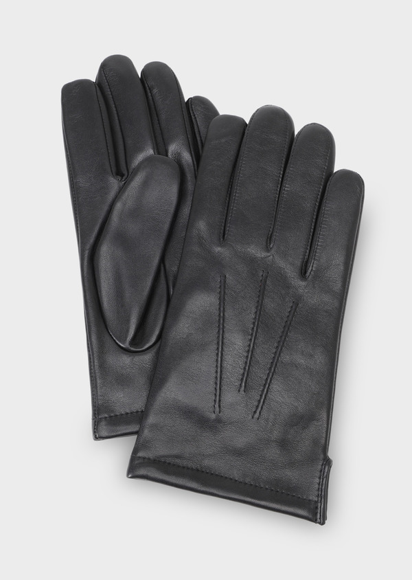 Gants en cuir lisse uni noir - Father and Sons 28590
