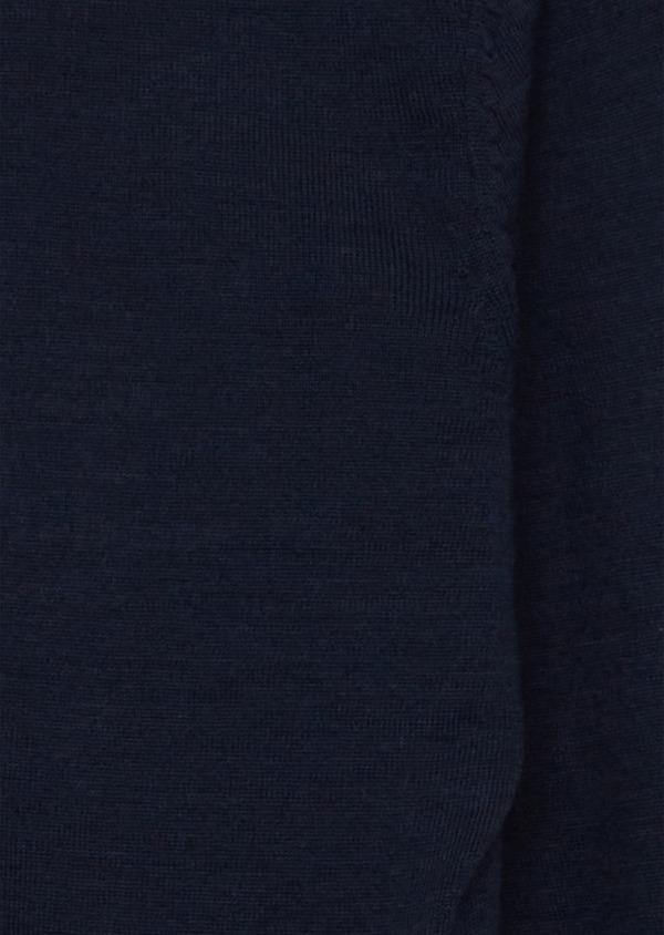 Gilet à capuche zippé en laine Mérinos unie bleu marine - Father and Sons 39312
