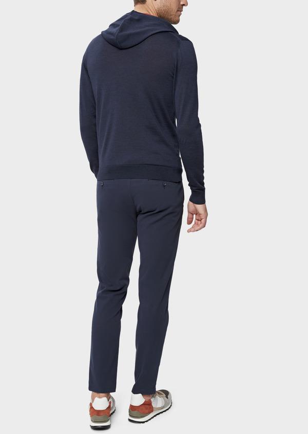 Gilet à capuche zippé en laine Mérinos unie bleu marine - Father and Sons 39314