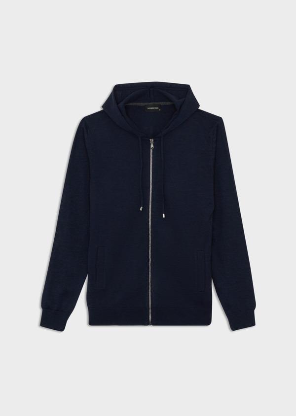 Gilet à capuche zippé en laine Mérinos unie bleu marine - Father and Sons 39311