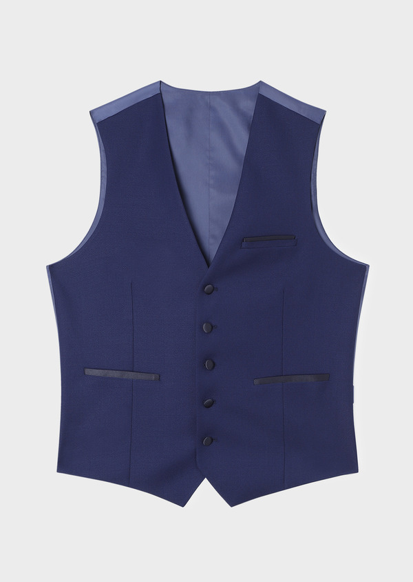 Gilet de smoking en laine unie bleu indigo - Father and Sons 33136
