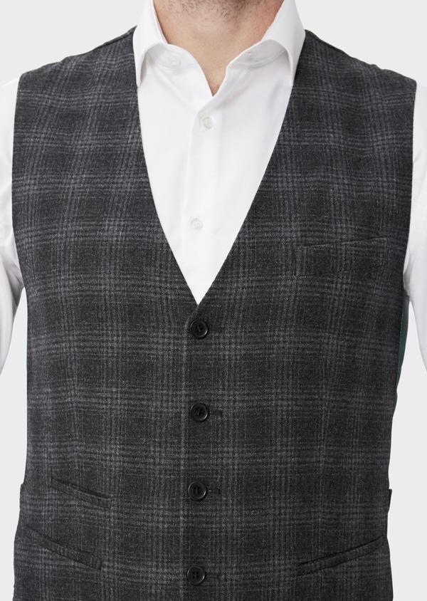 Gilet casual en laine mélangée gris Prince de Galles - Father and Sons 35275