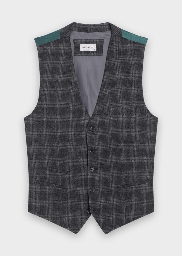 Gilet casual en laine mélangée gris Prince de Galles - Father and Sons 35271