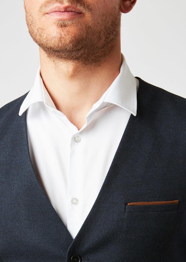 Gilet de costume coordonnable en coton mélangé à carreaux bleu - Father and Sons 26808