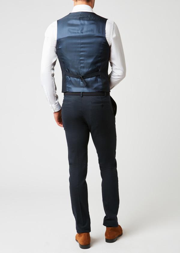 Gilet de costume coordonnable en coton mélangé à carreaux bleu - Father and Sons 26807