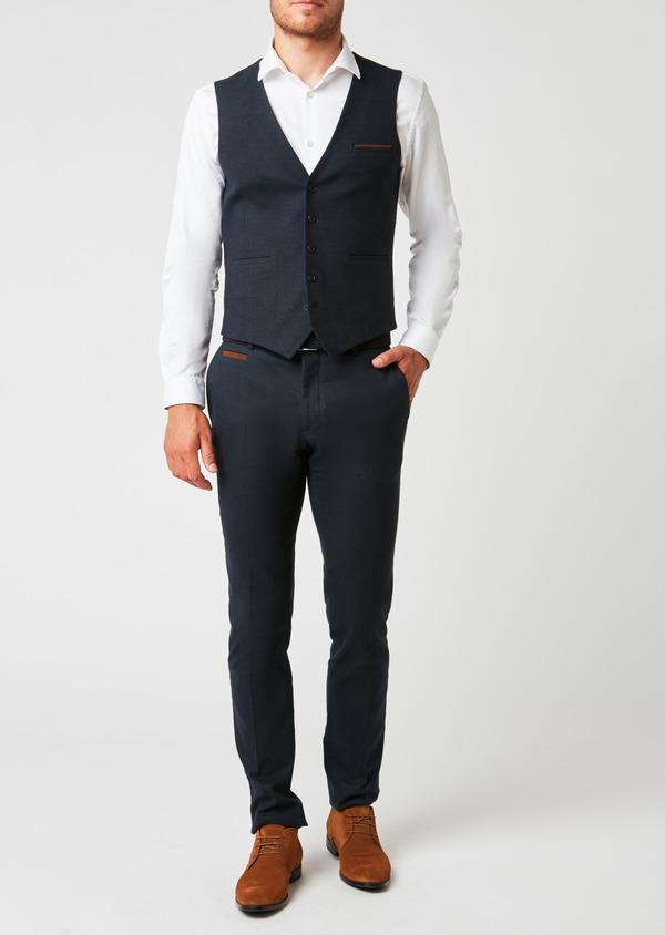 Gilet de costume coordonnable en coton mélangé à carreaux bleu - Father and Sons 26806
