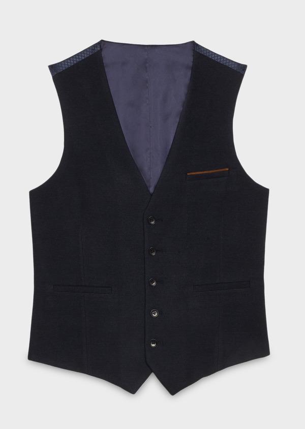 Gilet de costume coordonnable en coton mélangé à carreaux bleu - Father and Sons 26805
