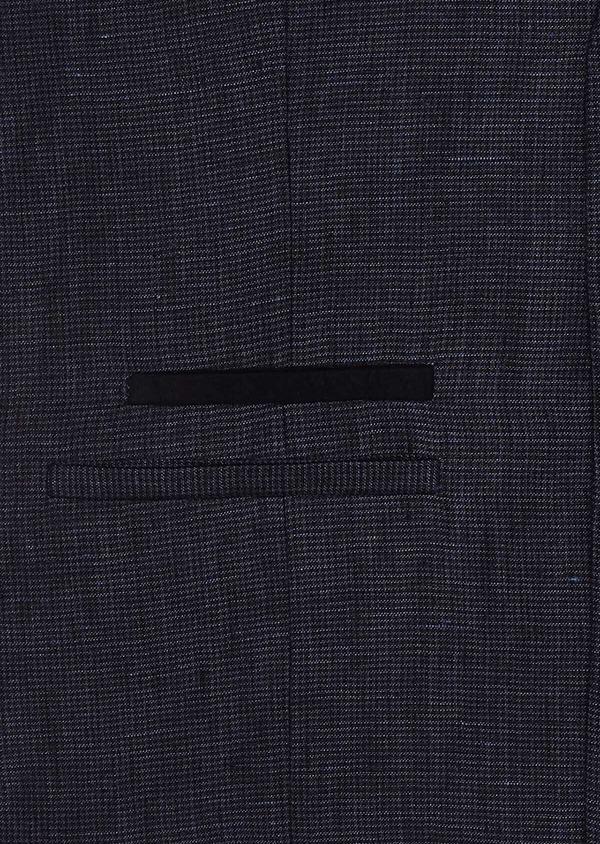 Gilet casual en lin bleu marine à carreaux - Father and Sons 33058