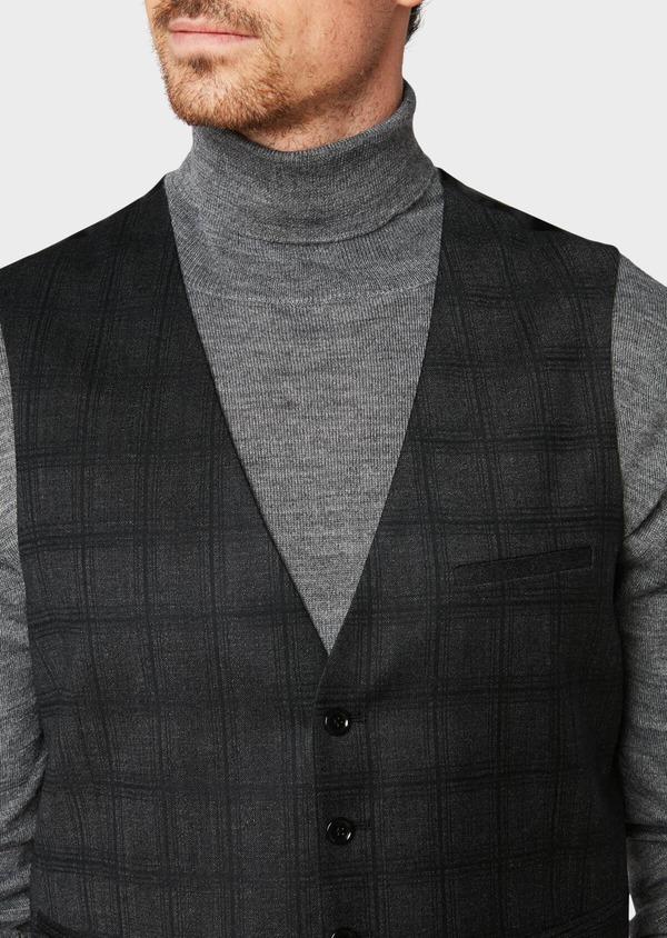 Gilet de costume en laine mélangée gris anthracite Prince de Galles - Father and Sons 31524