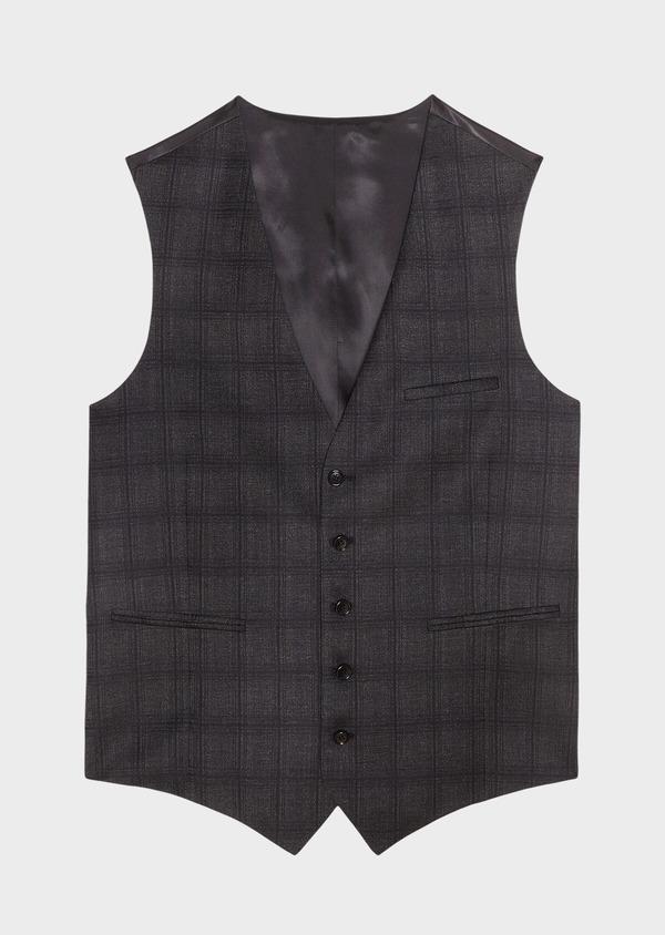 Gilet de costume en laine mélangée gris anthracite Prince de Galles - Father and Sons 31521
