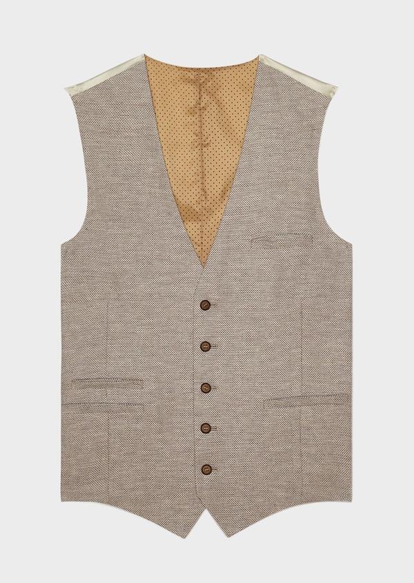 Gilet casual en coton stretch et lin uni beige - Father and Sons 33823