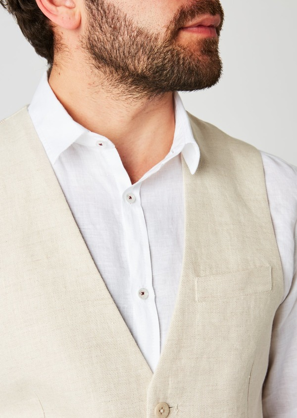 Gilet casual en lin uni beige - Father and Sons 20176
