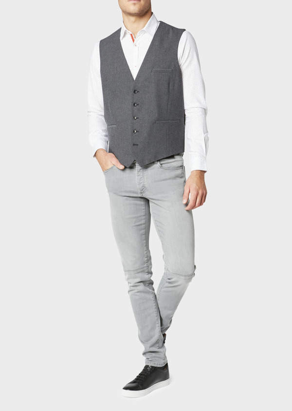 Gilet de costume coordonnable en coton mélangé uni gris - Father and Sons 30633