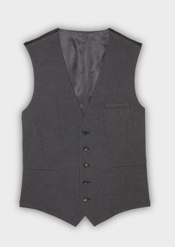 Gilet de costume coordonnable en coton mélangé uni gris - Father and Sons 30631