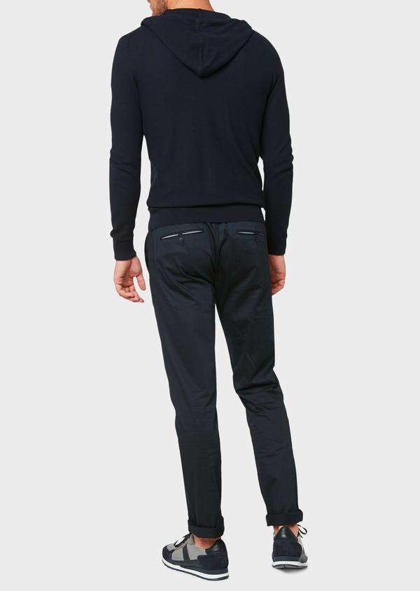 Sweat zippé à capuche en coton uni bleu marine - Father and Sons 33489