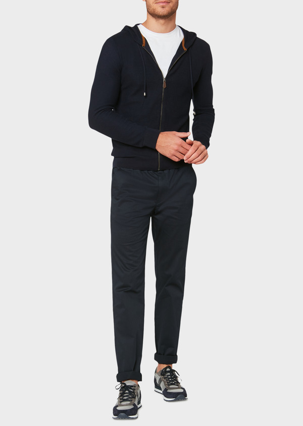 Sweat zippé à capuche en coton uni bleu marine - Father and Sons 33488