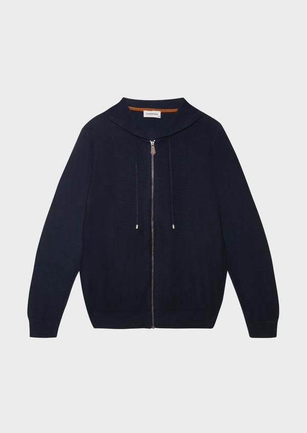 Sweat zippé à capuche en coton uni bleu marine - Father and Sons 33486