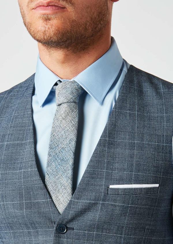 Gilet de costume coordonnable en laine mélangée bleu chambray Prince de Galles - Father and Sons 26790