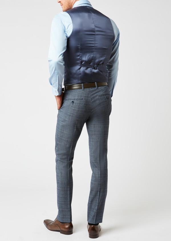 Gilet de costume coordonnable en laine mélangée bleu chambray Prince de Galles - Father and Sons 26789
